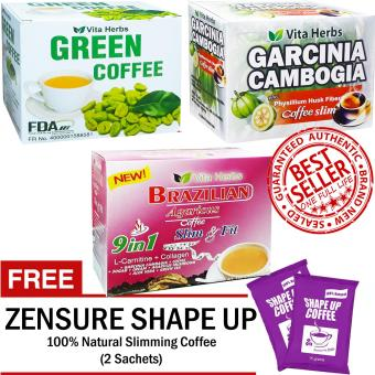 Vita Herbs Green Coffee, Garcinia Cambogia Coffee, Brazilian Coffee FREE 2 Sachets Shape up Slimming Coffee