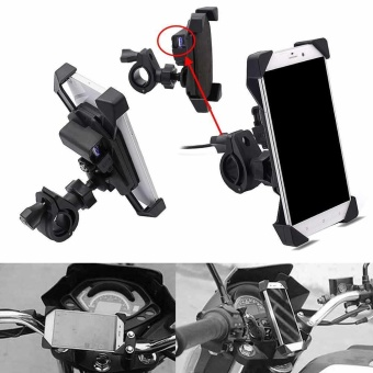 1 X Black Motorcycle Cellphone ABS Mount Holder For Phone with freeUSB Charger - intl