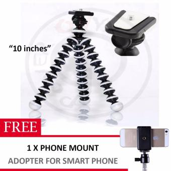 10 inches Medium Octopus Flexible Tripod Stand Gorillapod for GoproSony Sjcam DSLR , Nikon Canon w/ Phone mount