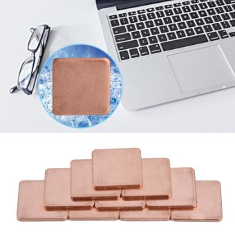 10 pcs 20 * 20mm Copper Sheet Shim Piece Heat Sink Thermal Pad ForGPU CPU Laptop 0.8mm - intl