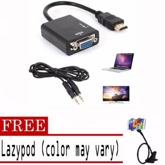 1080P HDMI Male to VGA Female Video Converter Adapter Cable ForPC/DVD/PS3 with free Lazypod (color may vary)
