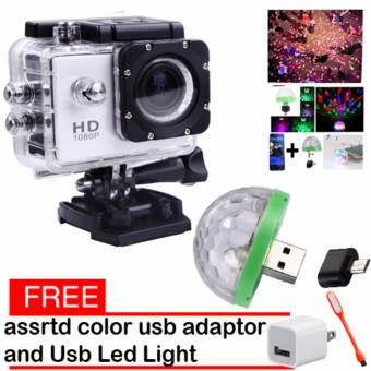 1080P Sports Cam HD DV Action Waterproof 30M Camera Camcorder(White) LED Small Magic Ball Disco Party USB Colorful Neon Lights4W With Free USb Adaptor With Usb Led Light