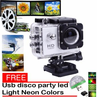 1080P Sports Cam HD DV Action Waterproof 30M Camera Camcorder(White) with Free LED Small Magic Ball Disco Party USB ColorfulNeon Lights 4W
