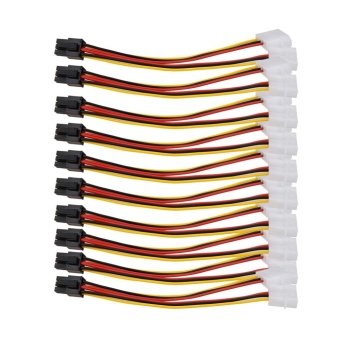10PCS Molex (4 Pin) to PCI-E (6 Pin) Power Converter AdapterConnector - intl