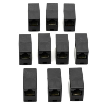 10pcs RJ45 Female to Female Adapter Connector Black - intl