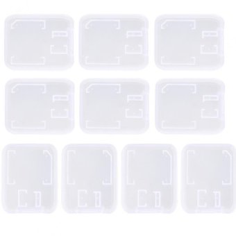 10PCS Transparent Standard SD SDHC Memory Card Case Holder BoxStorage New