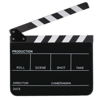 11.7 x 9.8 inch Acrylic Director Film Movie Cut Clapboard ClapperBoard Slate with Black White Magnetic Strip Black Board