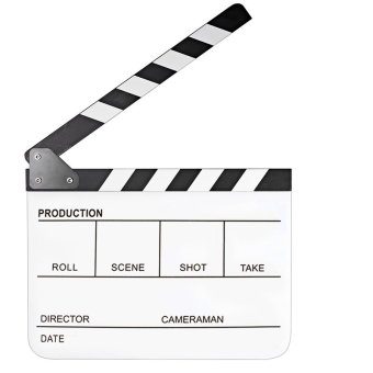 11.7 x 9.8 inch Acrylic Director Film Movie Cut Clapboard ClapperBoard Slate with Black White Magnetic Strip White Board