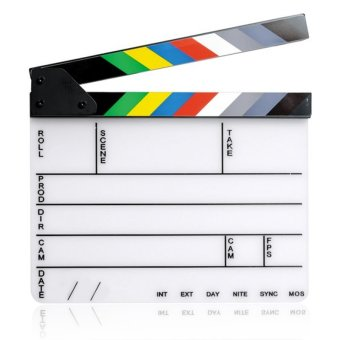 11.7 x 9.8 inch Acrylic Whiteboard Director Film Movie CutClapboard Clapper Board Slate with Magnetic Colorful Strip