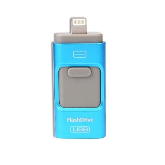 128GB 3 in 1 mini metal Usb Pen Drive Otg Flash Drive For iPhone 5/5s/5c/6/6 Plus/7/7plus/ipad/Android/PC_blue gary - intl