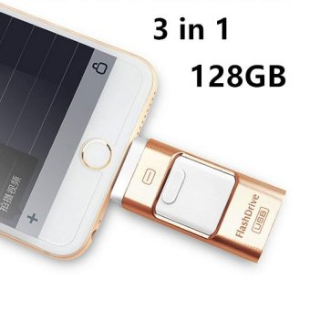 128GB Pen Drive for Andorid/apple Iphone 6s USB Flash Drive 128gb USB Stick Andorid 4.5+ OTG Pendrive U Disk 3 In 1 Memory Stick USB 2.0(Gold) - intl