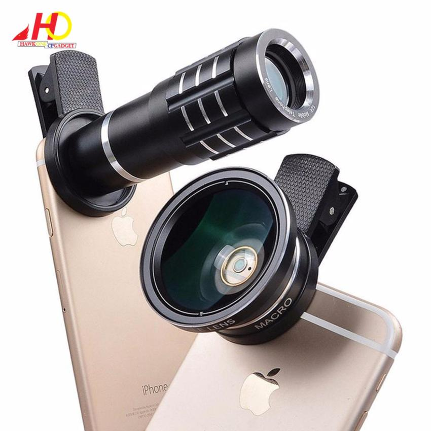 12X + 0.45X lenses 12X Zoom Clip-on Long Focus Telescope Lens withHD 37mm 0.45X Cell Phone Outer Wide Angle Lens Macro (Black)