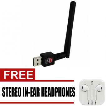 150Mbps Mini USB 2.0 Wireless WiFi Receiver with Antenna (Black)with free Stereo In-Ear Headphone (White)