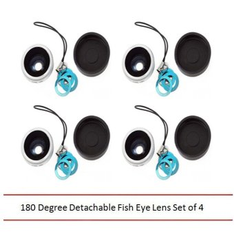 180 Degree Detachable Fish Eye Lens Set of 4 (Silver)