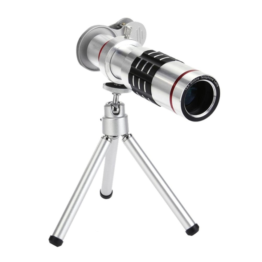 18X Zoom Phone Telescope Telephoto Camera Lens+Tripod LensCover(Silver) - intl