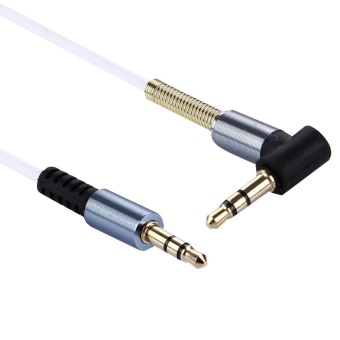 1m 3.5mm Jack Male To Male Plug Stereo Audio AUX Cable With MetalSpring For IPhone, IPad, Samsung, MP3, MP4, Sound Card, TV,Radio-recorder, Etc.(White) - intl