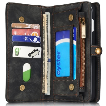 2 in 1 Multi-functional Flip Genuine Leather Wallet Mobile Phone Case with Card Slots for Apple iPhone 7 Plus - intl