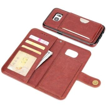 2 in 1 Premium Wallet Folio Flip PU Leather Case Protective Shell Magnetic Detachable Slim Back Cover Card Holder Slot Wrist Strap Multi-function Case Cover for Samsung Galaxy S7 Edge - intl - 3