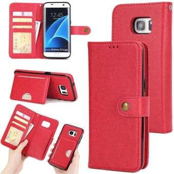 2 in 1 Premium Wallet Folio Flip PU Leather Case Protective Shell Magnetic Detachable Slim Back Cover Card Holder Slot Wrist Strap Multi-function Case Cover for Samsung Galaxy S7 Edge - intl