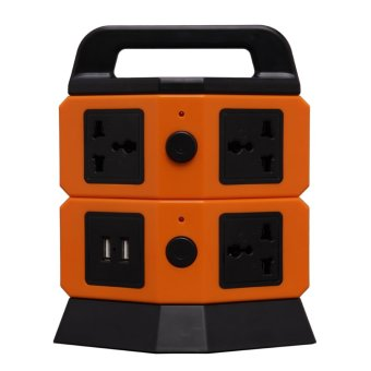 2-Layer Vertical Multi-Function Power Extension Outlet with 2 USB Port
