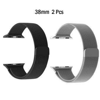 2 Pcs Milanese Loop Strap Stainless Steel band For Apple Watch 38mm wristband Series 1/2/3- intl