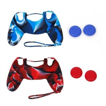 2 Sets of Replacement Soft Silicone Protective Skin Case Covers andJoystick Thumbstick Caps for Sony PlayStation 4 /PS4 Controller(Blue+Red)
