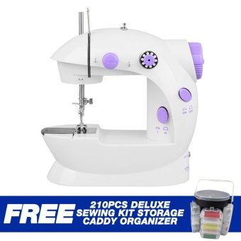 2-Speed Mini Electric Sewing Machine Kit(White/Lavender) with Free 210pc Deluxe Sewing Kit Storage Caddy Organizer