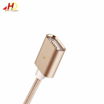 2in1 Magnetic Lightning and Micro USB Nylon Cable for iOs & Android (Gold) - 3