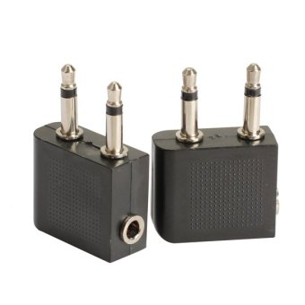 2pcs 3.5 mm to 2 x 3.5 mm Airplane Headphone Audio Jack PlugAdapter