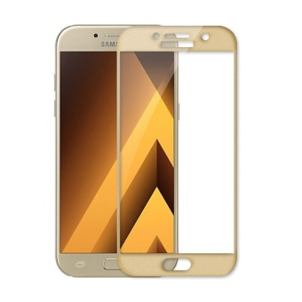 2pcs Full Cover Tempered Glass for Samsung Galaxy A7 (2017),Premium 3D Curved, 9H Hardness 0.3mm Electroplated Screen GuardProtector Film (Gold) - intl