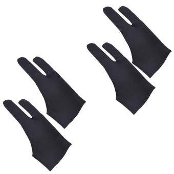 2Pcs Professional 2-fingers Tablet Drawing Gloves Anti-fouling Soft Breathable Double-side Use Artist Mittens for Graphic Tablet Art Creation Pen Display iPad Pro Pencil Black - intl