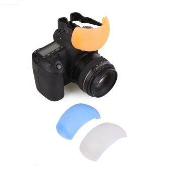 3 Color Puffer Pop-Up Flash Soft Diffuser Dome For Canon Camera Universal - intl