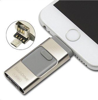 3 in 1 128GB Metal USB OTG Flash Drive U Disk Menory Stick For IOS iPhone and Android Phone (Silver) - intl
