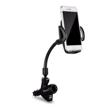 3 in 1 Dual USB Car Charger 2 Port with Cell Phone Mount Holder