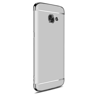 3 In 1 Ultra Thin and Slim Hard Case Coated Non Slip Matte Surfacewith Electroplate Frame for Samsung Galaxy A7 2017 / A720 (Silver)- intl