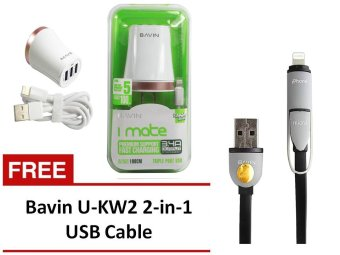 3-Port Bavin PC695 Charger for iOS and Android Devices with BavinU-KW2 2-in-1 USB Cable