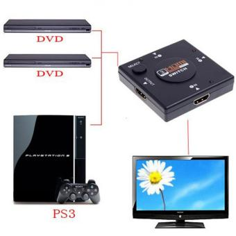 3 Port Mini Switcher HD Video HDMI Switch Splitter for HDTV PS31080P with Free Mini Foldable All-In-One Monopod with RemoteClicker (Black) - 3