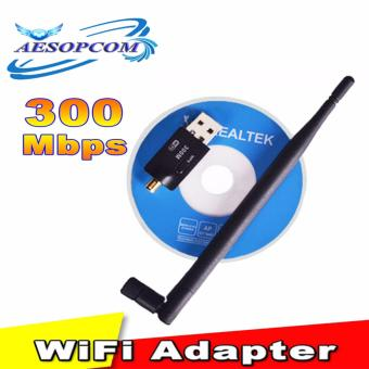 300Mbps Wireless USB 2.0 Wifi Adapter with antenna LAN Cardreceiver(black)