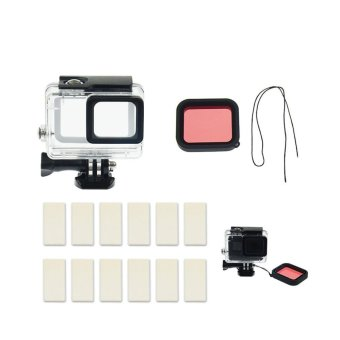 30M Underwater Diving Snorklling Protective Housing Case with Quick Release Clip Mount Red Filter Lens Cover Cap Anti-fog Inserts Package For GoPro Hero 5 Camera Accessories - intl