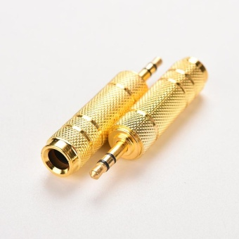 3.5mm Audio Jack Male TO 6.35mm Female Jack Plug Adapter Gold Plated Audio MIC Microphone Cable Adapter Converter Stereo 2PCS - intl