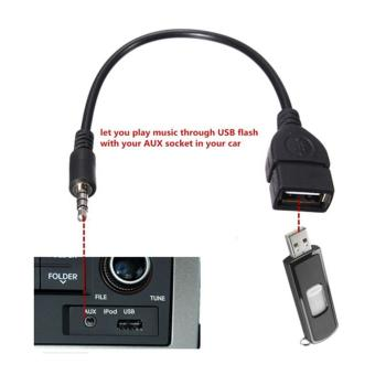 3.5mm Male AUX Audio Plug Jack To USB 2.0 Female Converter Adapter Cable - intl