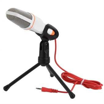 3.5mm Stereo Studio Computer Condenser Microphone MIC w/ Tripod for Skype MSN PC Laptop (White) - intl