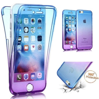 360 Degree Full Body Front and Back Cover Non-slip Shock-Absorption Protective Skin Shell Transparent Soft TPU Case for Iphone 6/6S Plus (Blue/Purple) - intl