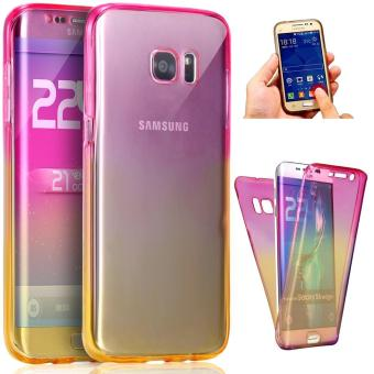 360 Degree Full Body Front and Back Cover Non-slip Shock-AbsorptionProtective Skin Shell Transparent Soft TPU Case for Samsung GalaxyS7 Edge (Pink/Yellow) - intl Price Philippines