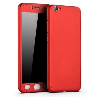 360 Degree Full Body Protective Case Frosted Matte 3 in 1 Front + Back Cover for VIVO V5 Lite / Y66 with Tempered Glass - intl