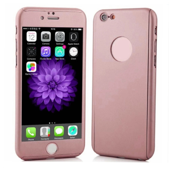 360 Degree Full Plastic Cover Case for Apple iPhone 6S Plus 5.5(Rose Gold)