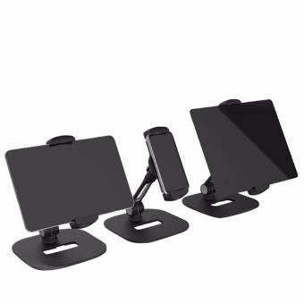 360 Degrees Rotation and Adjustable Height Cell Phone and Tablet Stand (Black) - 3