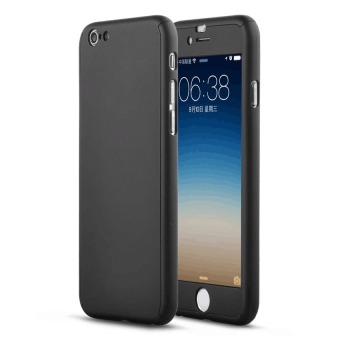 360 Full Cover Plastic Case with Tempered Glass For Apple iPhone5/5s (Black)