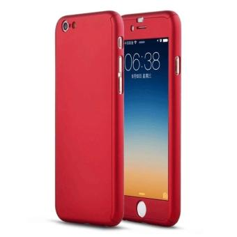 360 Full Cover Plastic Case with Tempered Glass For iPhone 5G/5S/SE (Red)