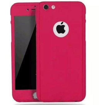 360 Full Cover Plastic Case with Tempered Glass For iPhone 6/6S(HotPink)